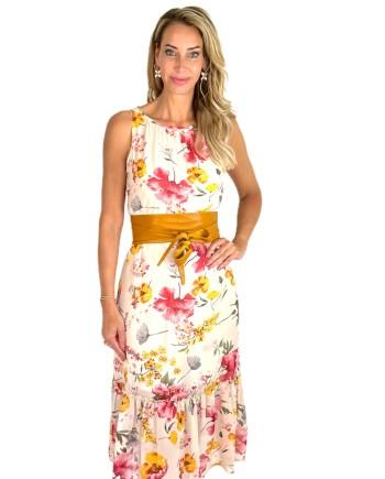 nude dress floral print