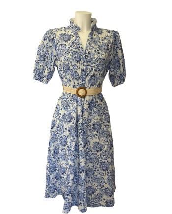 Broderie jurk delfts blauw