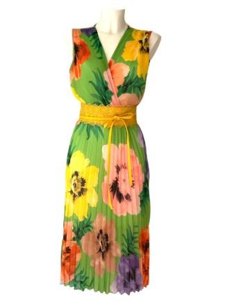 floral plisse dress