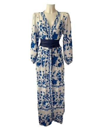 Delft blue V neck dress