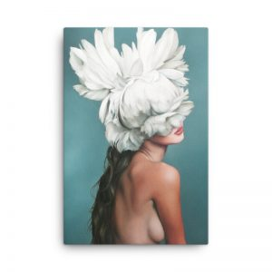 charming woman flower head