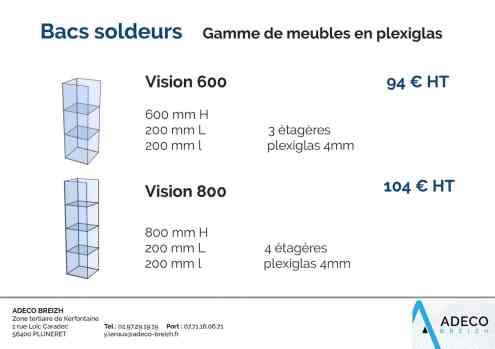 Prix des bacs soldeurs - gamme de meubles en plexiglas Vision