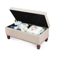Adeco Beige Pu Fabric Storage Bench - FT0046-3