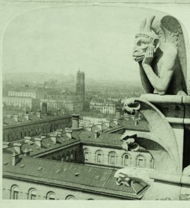 Photo on stereo card of a Notre Dame Gargoyle