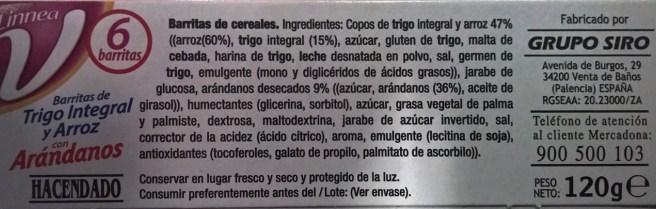 Ingredientes de las barritas de cereales Hacendado de Mercadona