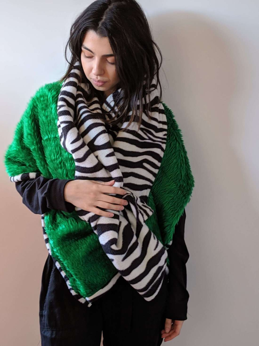 zebra shawl with green fur