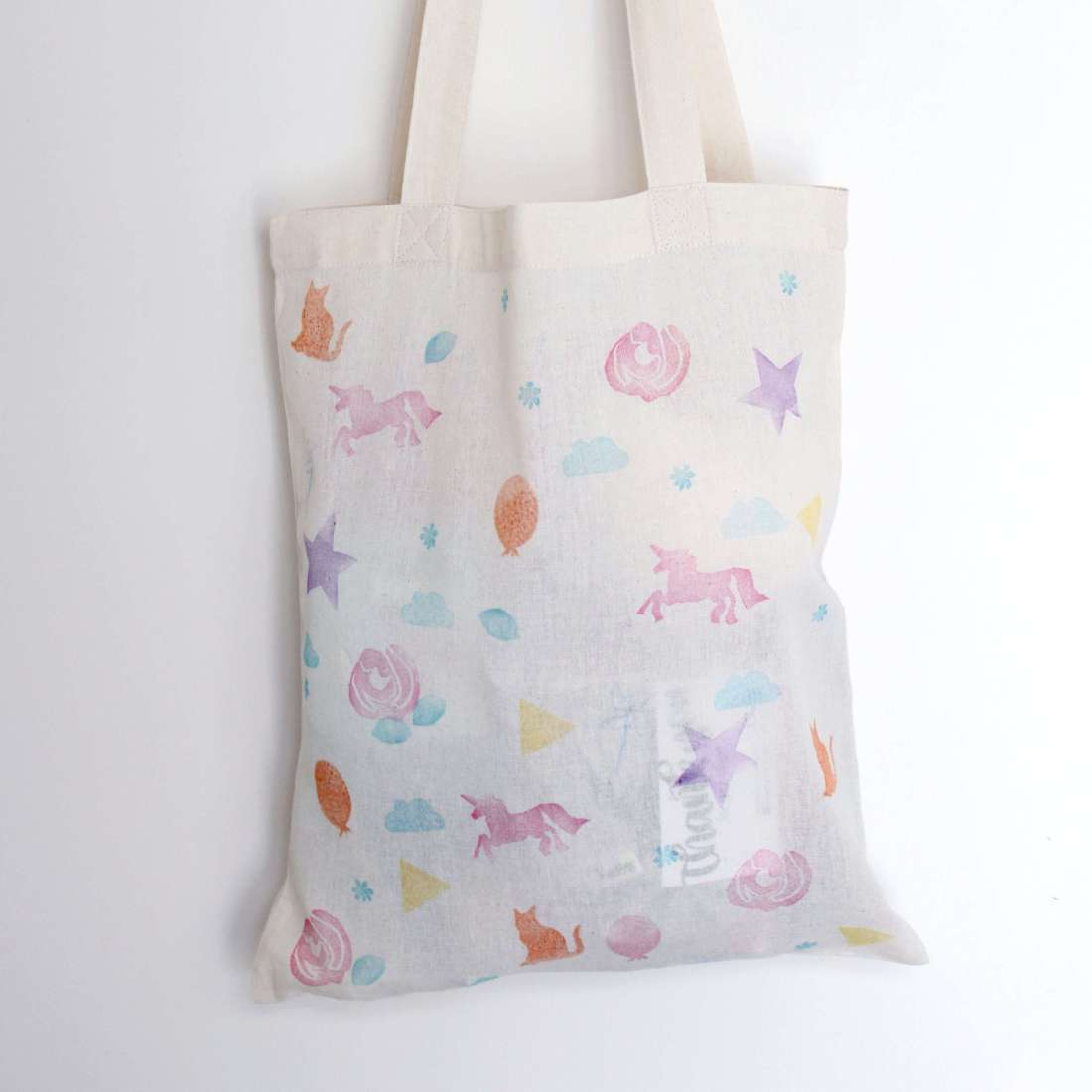 Hand printed tote bag by The Party Bag Lady