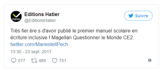 Tweet de la Maison Edition Hatier