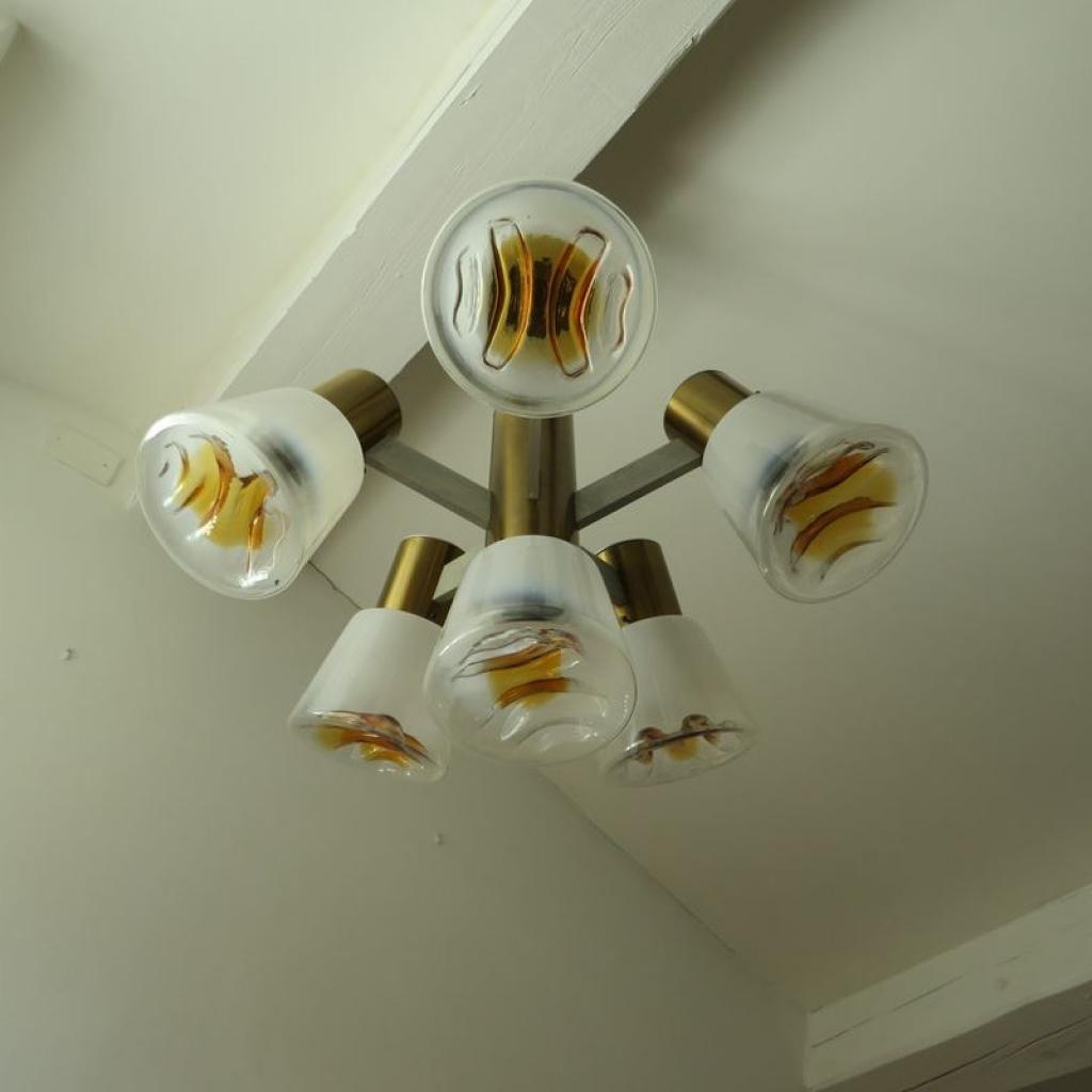 Lampadario vistosi, 30 dischi in vetro di murano, 3 lampadine. Lampadario Vintage In Ottone E Vetro Di Murano Italia Anni 60 Ademore