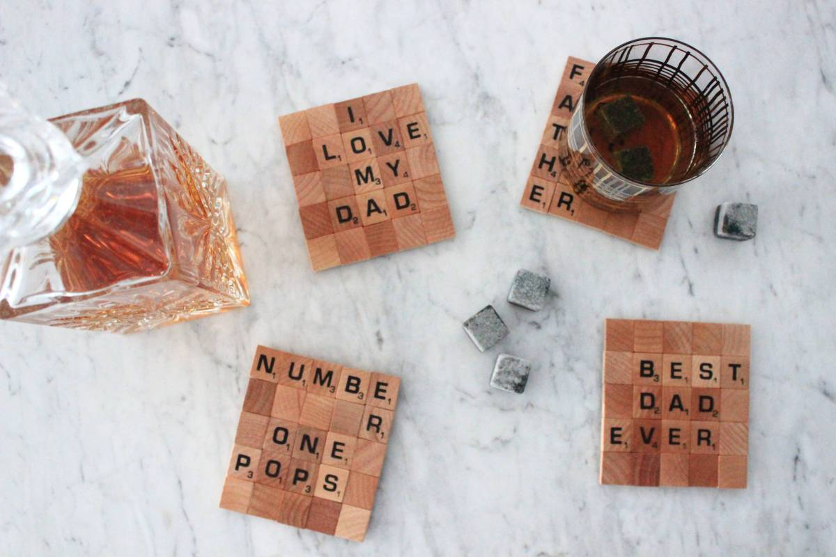 DIY Scrabble Coasters for Father's Day
