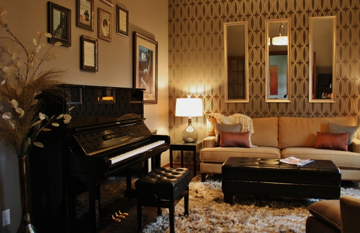 Round Rock SittingPiano Room  Austin Interior Design by