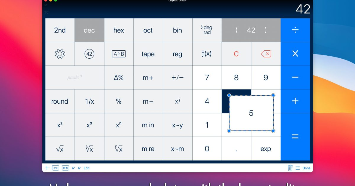 PCalc for Mac gets robust button layout editor to easily build your perfect calculator