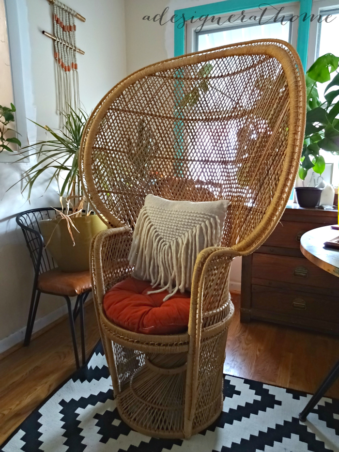 fan back wicker chair leather swivel recliner and ottoman my long standing obsession with the peacock a bohemian woven thrifted second hand