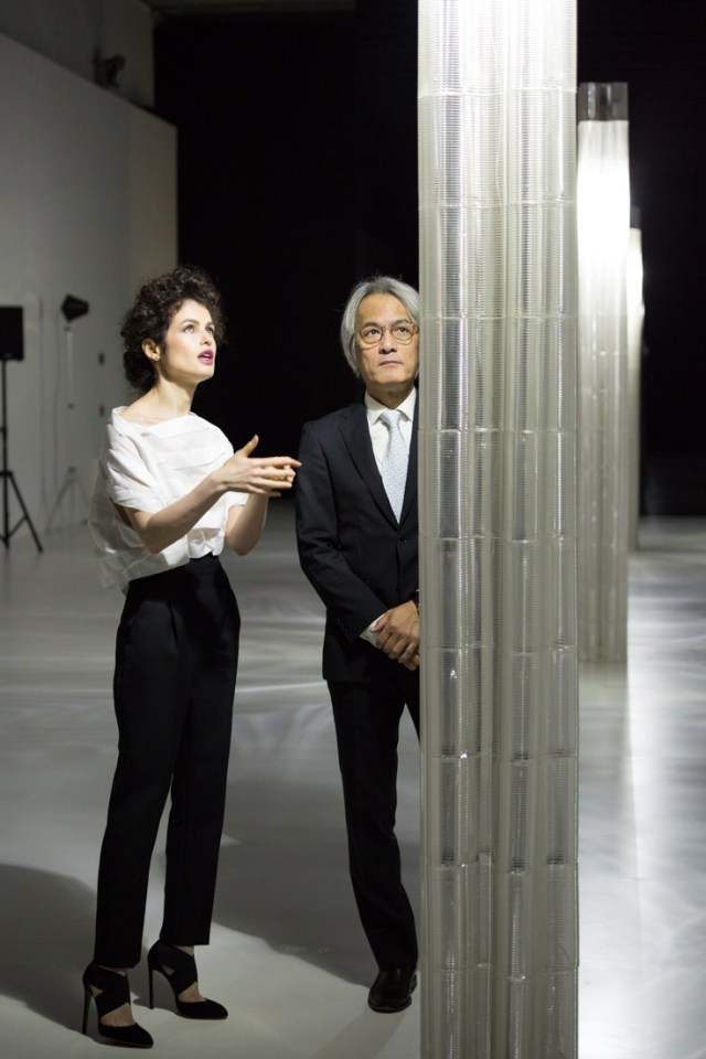 Created by Neri Oxman and the Mediated Matter Group, the glass installation exhibition at the Lexus Design Event multidimensional and immersive 3D-glass printed space inspired by Lexus YET philosophy allows visitors to experience seemingly contrasting elements: ancient YET modern, a wave YET particle, being grounded YET suspended by light. Neri Oxman is pictured with Yoshihiro Sawa, President of Lexus International.