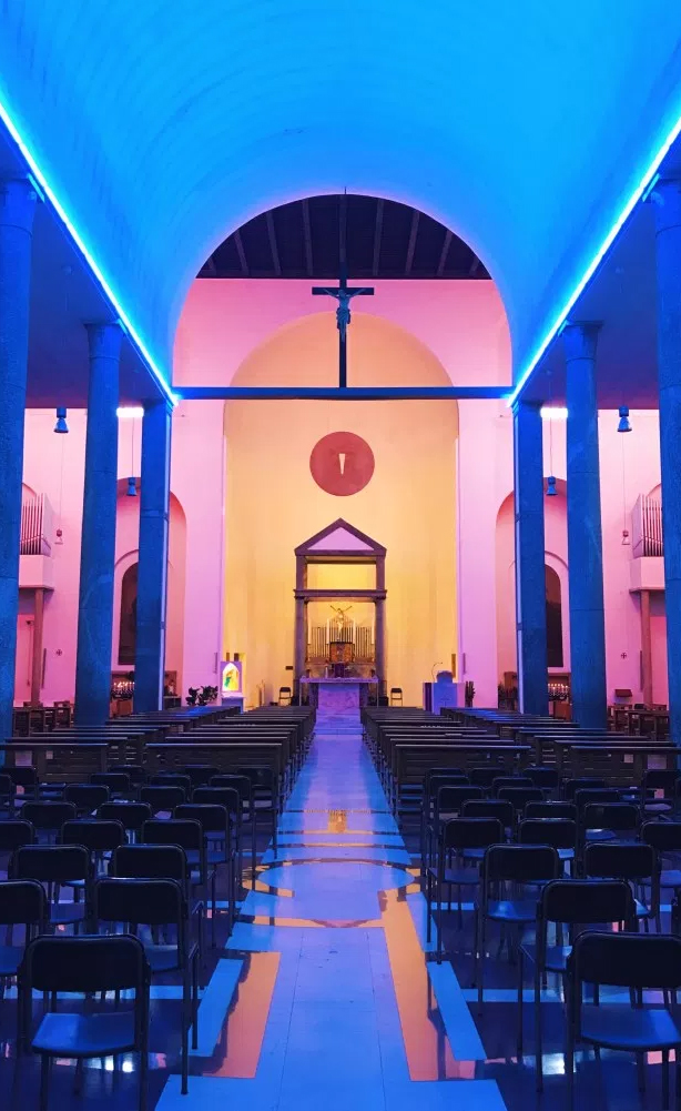 The rainbow-lit Santa Maria Annunciata church in Chisea Rossa by late artist Dan Flavin | Image Credit: Bobby Solomon of The Fox is Black | The Ultimate Guide to Milan Design Week