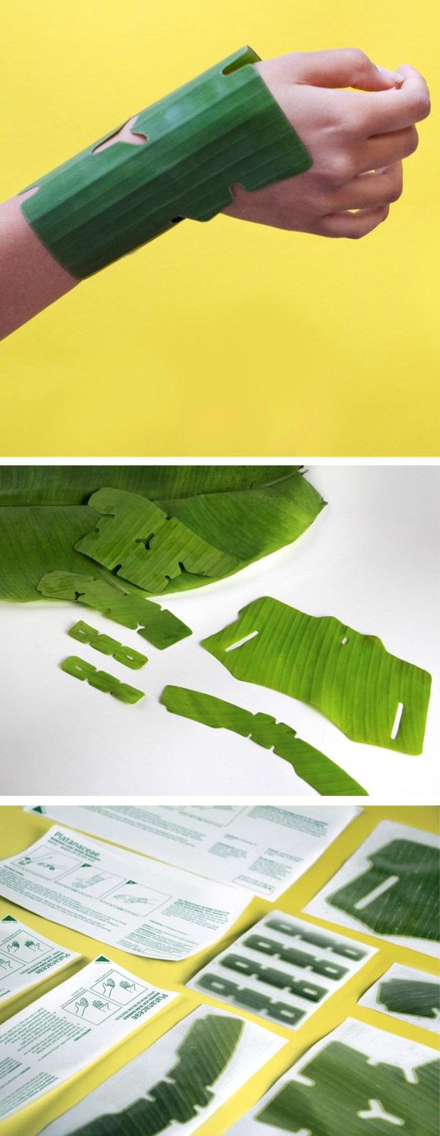 Banana leaf bandages that outperform synthetic materials yet are biodegradable and soothing, PLATANACEAE is a series of first aid bandages for burn wounds that happen at home. The hydrated texture of banana leaves is refreshing when in contact with the skin. These bandages wrap around different parts of the hands and arms. PLATANACEAE | Designer: Paula Cermeno | Lexus Design Award 2017 | Milan Design Week | La Triennale di Milano | Awesome Products #product_design