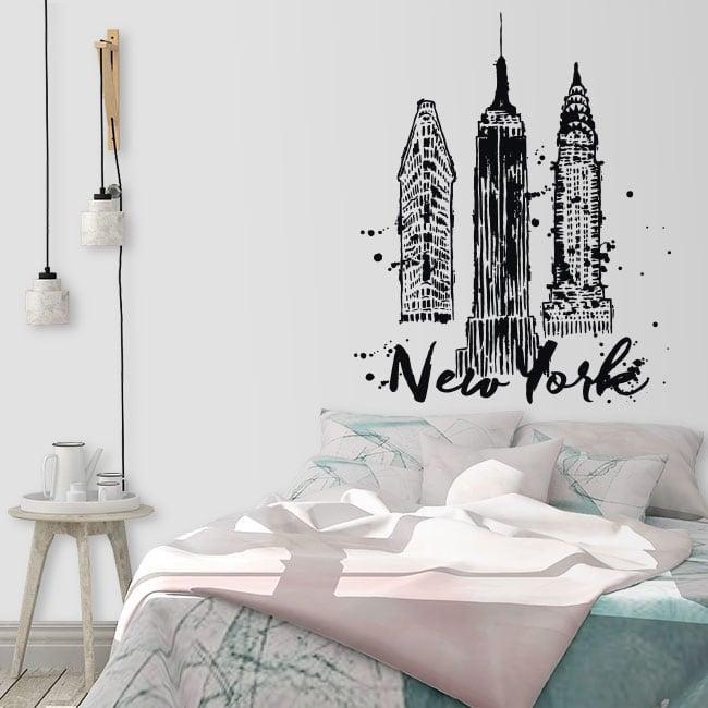Brooklyn bridge, statue of liberty, empire state. Adesivi Murali New York