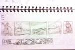 pencil sketch Gawain painting panel layout