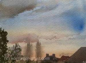 Watercolour sky over the back garden
