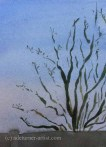 Watercolour apple tree against plain sky