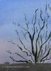 Watercolour apple tree against plain sky