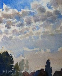 Watercolour broken clouds over the backs