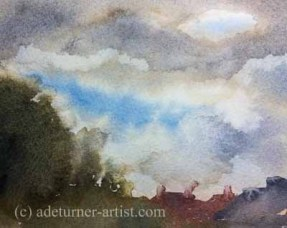 Watercolour over the back garden