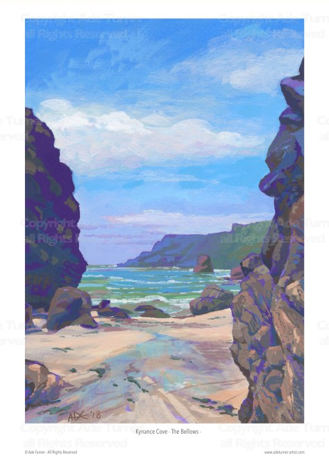 Kynance Cove - The Bellows - a gouache painting by Ade Turner