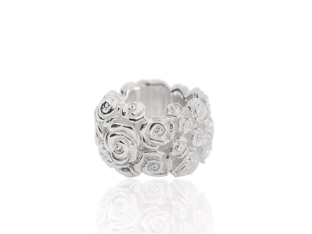 Ring Silber Blumen massiv breit Skulptur Relief