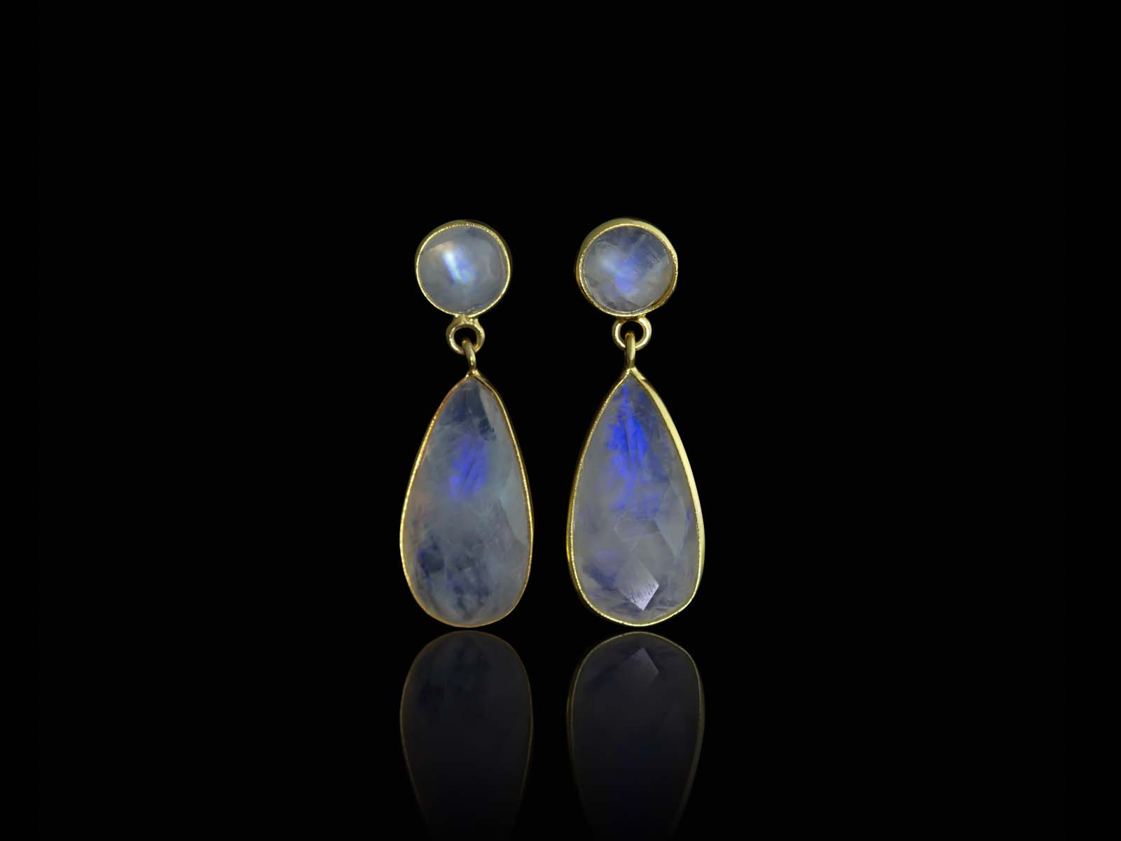 Double Rainbow Moonstone Gold earrings  Dangly dropshaped and round Sold Out