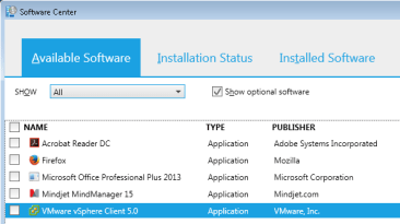 Software center user available apps