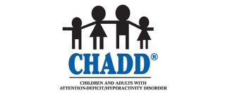 CHADD logo with black family icon and a subheading