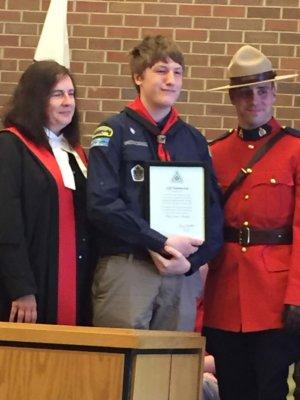 Jeff Rasmussen receiving Chief Scout Award