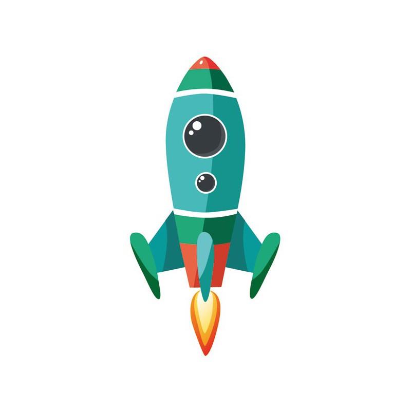 Vinilo infantil cohete espacial para colocar en pared