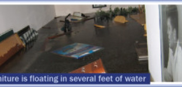Furniture is floating in several feet of water