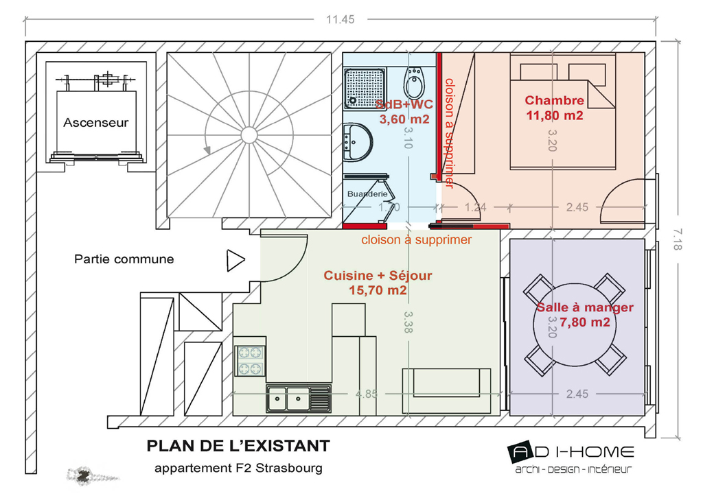 plan dun appartement f2