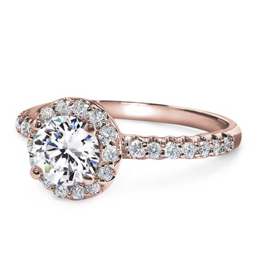 Rose Gold and Diamond Pave Engagement Ring from Adiamor