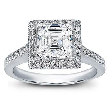 Art Deco Inspired Asscher Cut Diamond Engagement Ring by Adiamor