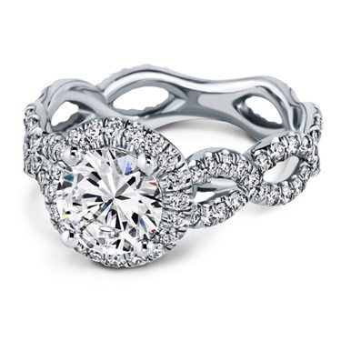 Twisted Pave Halo Engagement Ring by Adiamor