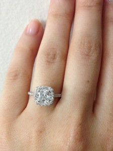 Diamond Halo Engagement Ring with a Cushion Cut Diamond