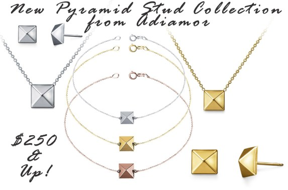 Our New Pyramid Stud Jewelry Collection Features Bracelets, Earrings and Necklaces in White, Rose and Yellow Gold!