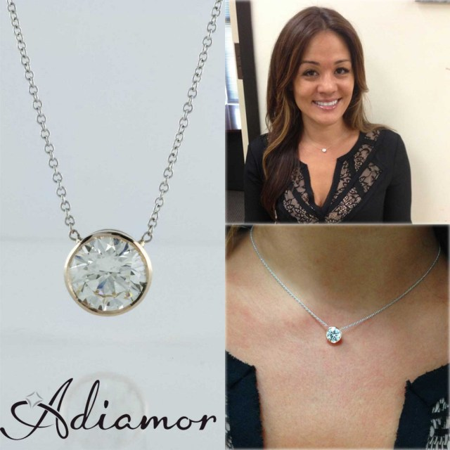 Adiamor's rose gold diamond bezel pendant