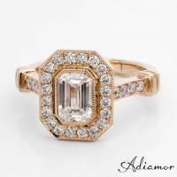 Custom Emerald Cut Diamond Engagement Rings | Adiamor