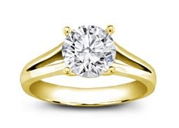 yellow gold split shank engagement ring