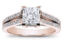 rose gold split shank engagement ring