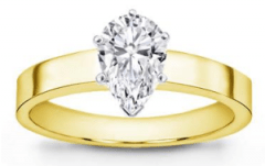 Flat Edge Solitaire Setting 18K Yellow Gold