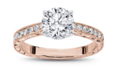 rose gold Hand Engraved Tapered Diamond Ring