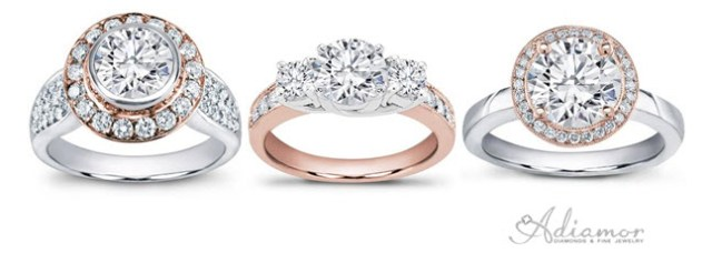 Two Tone Metal Rose Gold Engagement Rings