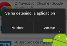 android se ha detenido la aplicacion