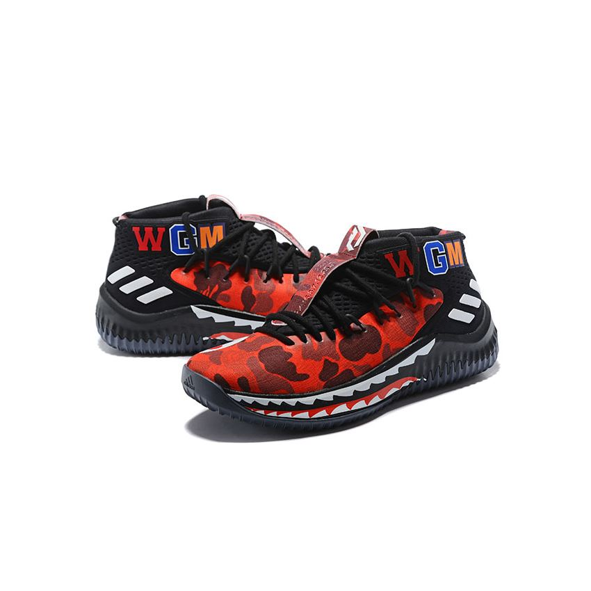 2018 BAPE x Adidas Dame 4 Red Camo Black/Red/White. Adidas Factory Outlet. Adidas Sneakers
